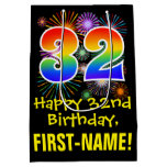 [ Thumbnail: 32nd Birthday: Fun Fireworks Pattern + Rainbow 32 Gift Bag ]