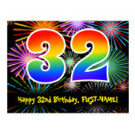 [ Thumbnail: 32nd Birthday – Fun Fireworks Pattern + Rainbow 32 Postcard ]