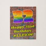 [ Thumbnail: 32nd Birthday: Fun Graffiti-Inspired Rainbow 32 Jigsaw Puzzle ]