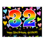 [ Thumbnail: 32nd Birthday: Fun Hearts Pattern, Rainbow 32 Postcard ]