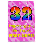 [ Thumbnail: 32nd Birthday: Fun Pink Hearts Stripes; Rainbow 32 Gift Bag ]