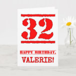 [ Thumbnail: 32nd Birthday: Fun, Red Rubber Stamp Inspired Look Card ]