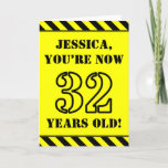 [ Thumbnail: 32nd Birthday: Fun Stencil Style Text, Custom Name Card ]