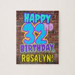 [ Thumbnail: 32nd Birthday ~ Fun, Urban Graffiti Inspired Look Jigsaw Puzzle ]