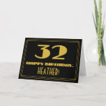 "[ Thumbnail: 32nd Birthday: Name + Art Deco Inspired Look ""32"" Card ]"