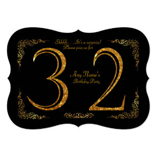 32ndBirthday Party 32ndgreat Gatsbyblack Gold Invitation