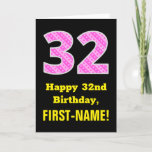 "[ Thumbnail: 32nd Birthday: Pink Stripes and Hearts ""32"" + Name Card ]"