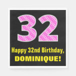 "[ Thumbnail: 32nd Birthday: Pink Stripes and Hearts ""32"" + Name Napkins ]"
