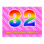 [ Thumbnail: 32nd Birthday: Pink Stripes & Hearts, Rainbow 32 Postcard ]