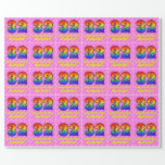 [ Thumbnail: 32nd Birthday: Pink Stripes & Hearts, Rainbow # 32 Wrapping Paper ]