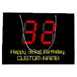 "[ Thumbnail: 32nd Birthday: Red Digital Clock Style ""32"" + Name Gift Bag ]"