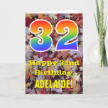 "[ Thumbnail: 32nd Birthday; Rustic Autumn Leaves; Rainbow ""32"" Card ]"