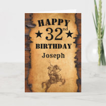 32nd Birthday Rustic Country Western Cowboy Horse Card