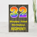 "[ Thumbnail: 32nd Birthday: Rustic Faux Wood Look, Rainbow ""32"" Card ]"