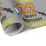 [ Thumbnail: 32nd Birthday: Spooky Halloween Theme, Custom Name Wrapping Paper ]