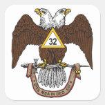32nd Degree Scottish Rite Brown Eagle Square Stickers