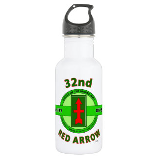 """32ND INFANTRY DIVISION """"RED ARROW"""" STAINLESS STEEL WATER BOTTLE"""