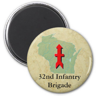 32nd Infantry Wisconsin Military 2 Inch Round Magnet