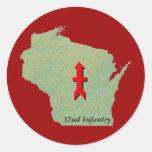 32nd Infantry Wisconsin Round Sticker