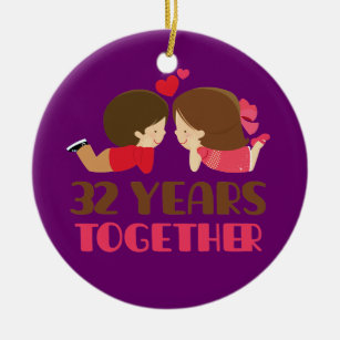 32nd Wedding Anniversary Gift For Her Ceramic Ornament