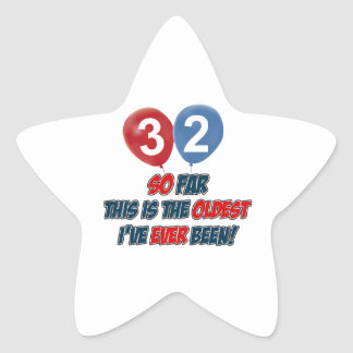 32nd year birthday design star sticker