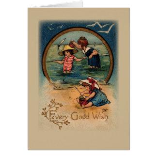 3323 Vintage Children at Beach Birthday Greeting Card