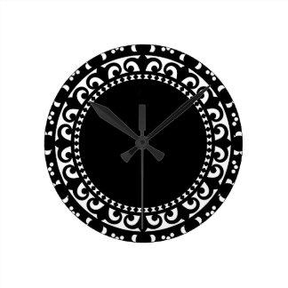 3332__doily-shape-1 BLACK WHITE CIRCLE SHAPES DOIL Wallclocks