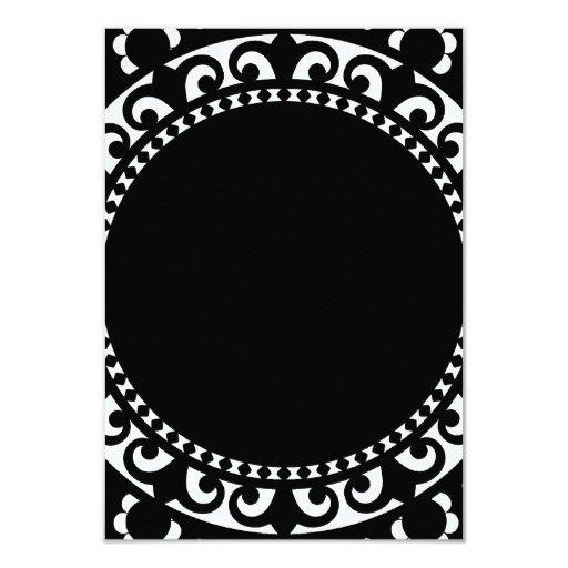 3332__doily-shape-1 BLACK WHITE CIRCLE SHAPES DOIL 3.5x5 Paper Invitation Card