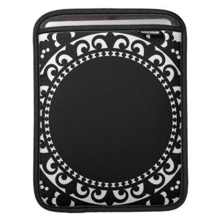 3332__doily-shape-1 BLACK WHITE CIRCLE SHAPES DOIL Sleeve For iPads