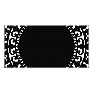 3332__doily-shape-1 BLACK WHITE CIRCLE SHAPES DOIL Photo Card