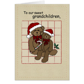 3395 Grandchildren Christmas Teddy Bears Card
