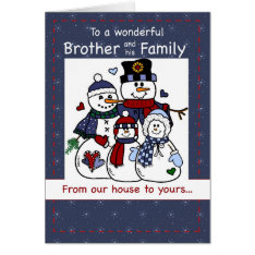 3396 Brother & Family Snowman Family Christmas Card at Zazzle
