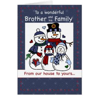 3396 Brother y navidad de la familia del muñeco de Tarjeta De Felicitación
