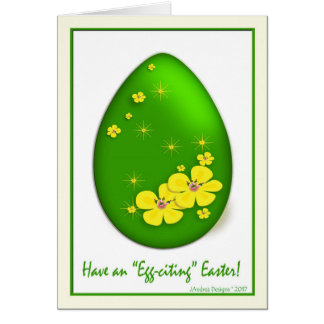 339900 Easter Egg Yellow Flowers and Stars Card