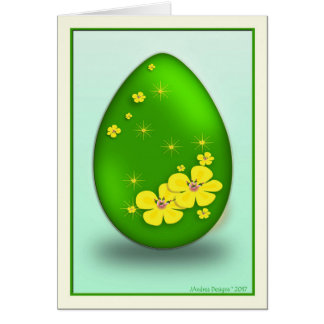 339900 Easter Egg Yellow Flowers & Stars_NG Card