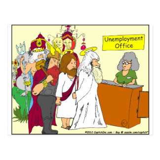 339 god unemployment office Cartoon Postcard