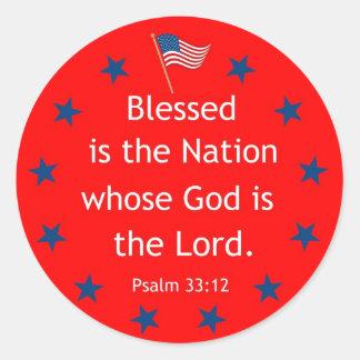 33:12 del salmo (patriótico) pegatina redonda
