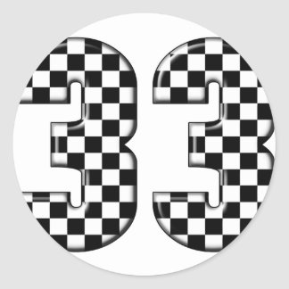 33 auto racing number classic round sticker
