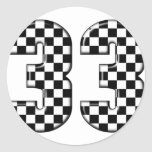 33 auto racing number round stickers