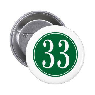 #33 Green Circle 2 Inch Round Button