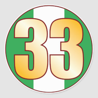 33 NIGERIA Gold Classic Round Sticker