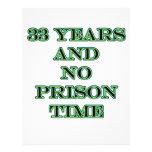 33 ninguna hora de prisión membretes personalizados