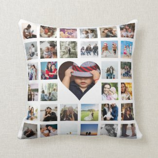 33 Photo Template Personalized Custom Made Collage Throw Pillow