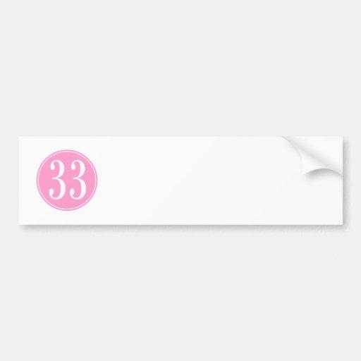 #33 Pink Circle Car Bumper Sticker