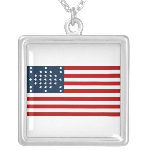33 Star Fort Sumter American Civil War Flag Square Pendant Necklace
