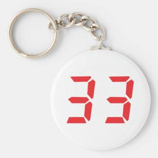33 thirty-three red alarm clock digital numbr basic round button keychain
