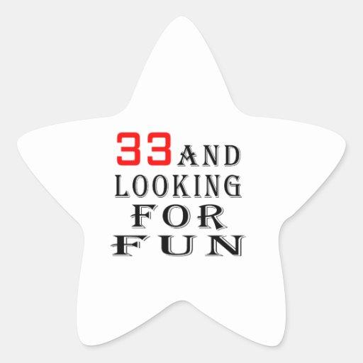 33 y buscar diseños del cumpleaños de la diversión pegatina en forma de estrella