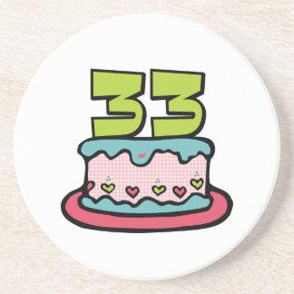 33 Year Old Birthday Cake Drink Coaster