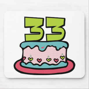 33 Year Old Birthday Cake Mouse Pad