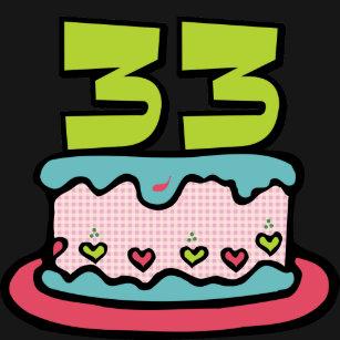 33 Year Old Birthday Cake T Shirt